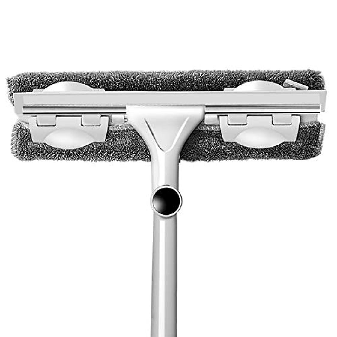 歩道熟考するのぞき穴SODIAL ガラスのクリーニングツール、両面伸縮式ロッド、ウィンドウのクリーナー、スキージ、ワイパー、ロングハンドル、回転ヘッド、ブラシ、シリコンのスクラバー