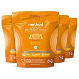Product Image of the Method Laundry Detergent Packs, Hypoallergenic Formula & Plant-Based Stain Remover Solution that Works in Hot & Cold Water, Ginger Mango Scent, 42 Packs per Bag, 4 Pack (168 Loads), Packaging May Vary