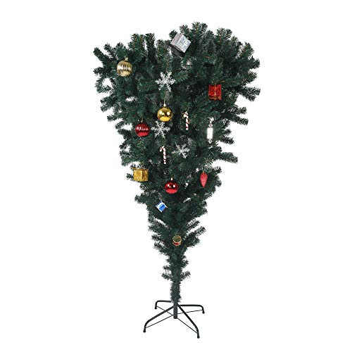 LUCKYERMORE 5.5ft Christmas Tree Upside Down 578 Tips Full Tree with Decorations and Metal Stand for Xmas Day New Year, Green