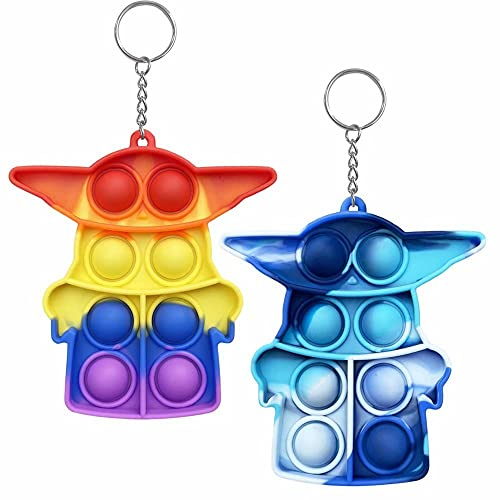 Ceomate Simple Fidget Toy Pop Fidget Toy Mini Stress Relief Hand Toys Keychain Toy Push Pop Bubble Wrap Pop Anxiety Stress Reliever Office Desk Toy for Kids Adults