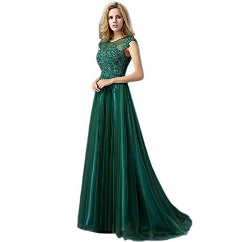 QJKai Brautjungferkleid des Langen Abschnitts des Bankettabendkleider Langen dünnen eleganten grünen Schwesterrockes