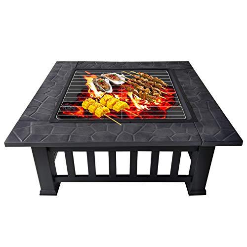 Aufun Feuerstelle mit Grillrost 81x81x45cm - Metall Feuerstelle mit wasserfeste Schutzhülle für Hinterhof Terrasse Garten Platz Herd Feuerschale