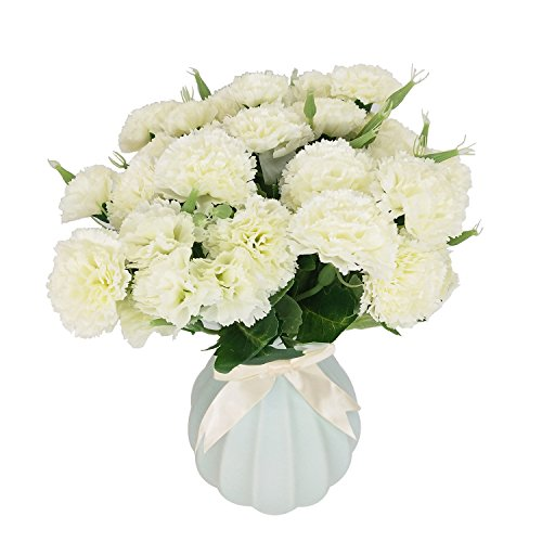Flores Artificiales MZMing [4 piezas] Mejor Regalo 10 Flor Artificial de Clavel Flor de Seda Artificial Arbusto de Boda en Casa Decoración de Florero en Tumba - Blanco