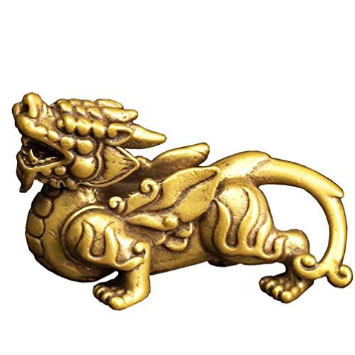 JYKFJ Decorativo Good Luck Pi Xiu Pi Yao Llavero Colgante Estatuilla de latón Adorno de Feng Shui Centro de Mesa para la decoración del Coche de la Oficina en casa