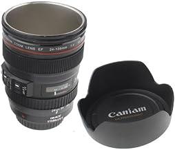 YMYN AYSMG Unique Simulation Dummy Zoom Lens(EF24-105mm G/ 4 USM) Coffee Cup Mug, Stainless steel liner(Black) (Color : Bl...