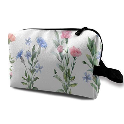 Hdadwy Organizador de viaje multiusos Bolsa de maquillaje impermeable Flores de acuarela Ilustraciones botánicas Conjunto floral Artículos de tocador Bolsa de almacenamiento de cosméticos para mujeres