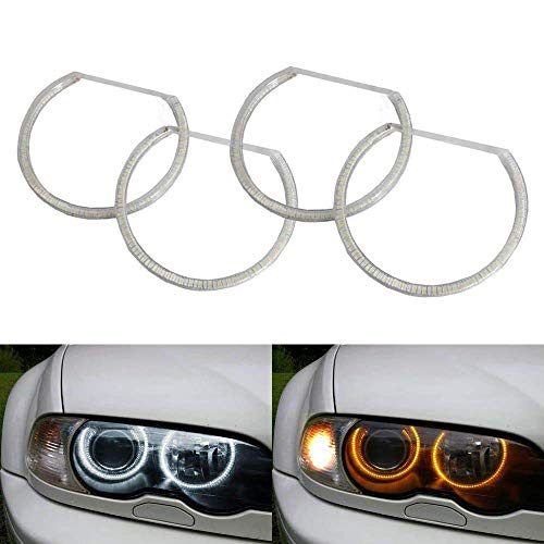 iJDMTOY Switchback Dual-Color White/Amber 336-SMD LED Angel Eyes Halo Rings Kit Compatible With BMW E36 E46 3 Series E39 5 Series E38 7 Series with Adaptive Xenon Headlight