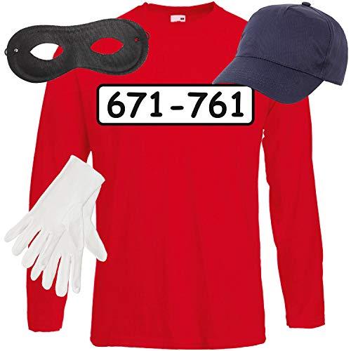 Shirt-Panda Herren Langarm Panzerknacker Kostüm + Cap + Maske + Handschuhe Verkleidung Karneval SET05 T-Shirt/Cap/Maske/Handschuhe M