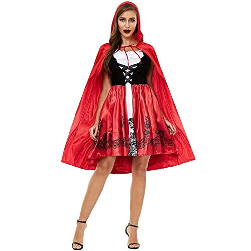 NC Vestido de Halloween, Capa Sexy, Disfraz de Caperucita Roja, Tentación Uniforme, Cosplay
