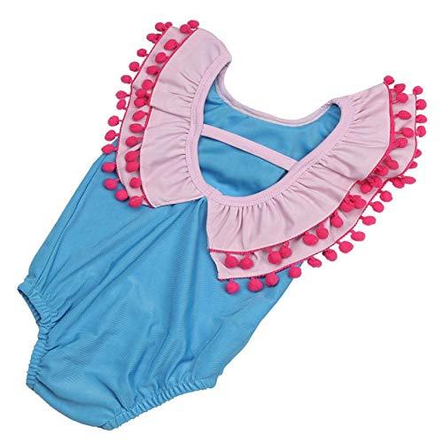 Baby/peuter meisjes zon bescherming badpak, Peter Pan kraag badmode, pak voor meisjes, voor strand, zwembad, water party,(100)