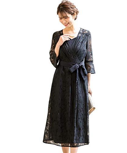 [nissen(ニッセン)] パーティードレス ワンピースドレス 総レースカシュクールガウンワンピースドレス(キャミソール付き)【結婚式・二次会・お呼ばれ・セミフォーマル対応】 大きいサイズ有 ネイビー M レディース