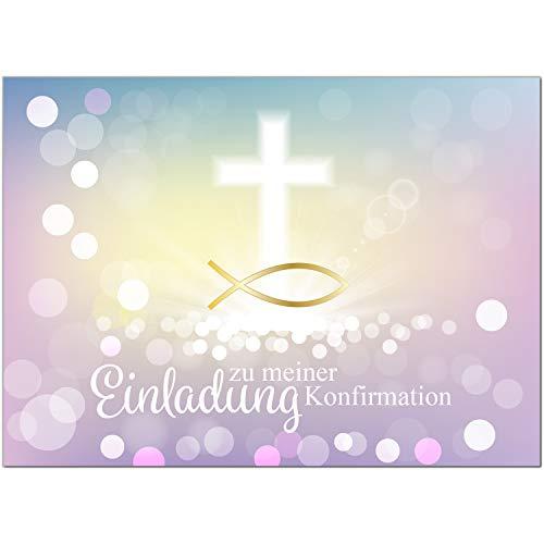 15 x Einladungskarten zur Konfirmation mit Umschlägen/Moderne Farben, Fisch Gold/Konfirmationskarten/Einladungen zur Feier