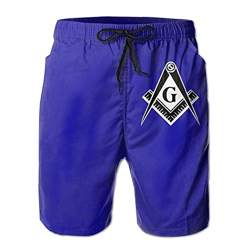 Freemason Logo Square and Compass - Men's Summer Boardshorts Casual Swim Trunks Boardshort X-Large