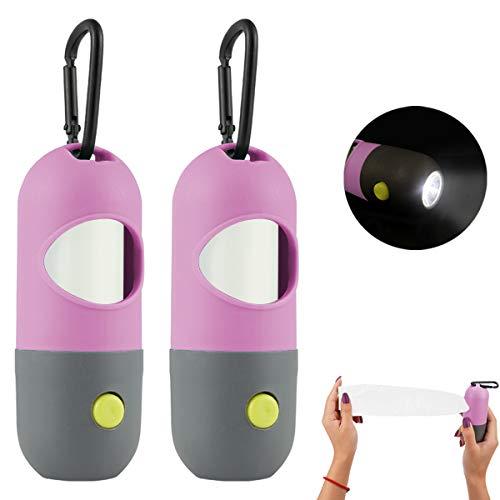 GABraden 2 Pack Dog poop bag dispenser with LED Flashlight and 2 Rolls Leak-Proof dog poop bag holder Dog Waste Bags and Leash Clip for Lead Leash(2-pink)