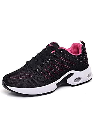 Zapatillas deportivas para mujer, con cojín de aire, transpirables, para correr, tenis, deporte, para el tiempo libre., color Rojo, talla 36 EU