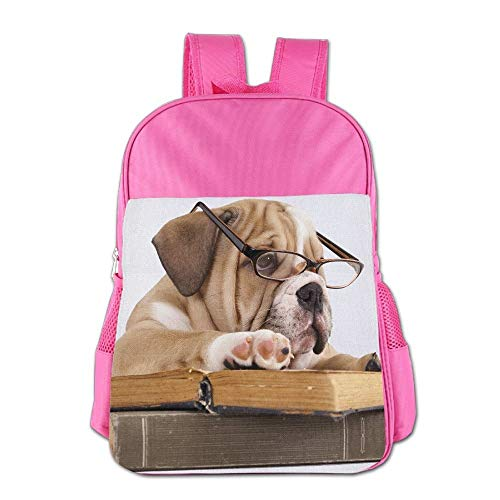 Purebred English Bulldog In Glasses and Book School Backpack Children Shoulder Daypack Kid Lunch Tote Bags Pink