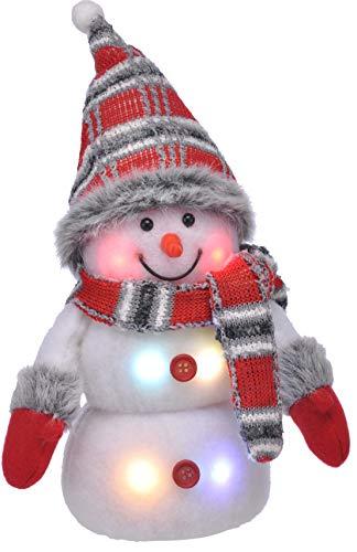 Bambelaa! Schneemann LED Bunt Weihnachtsdeko Beleuchtet 20 cm Batteriebetrieben Weihnachten Rot Grau
