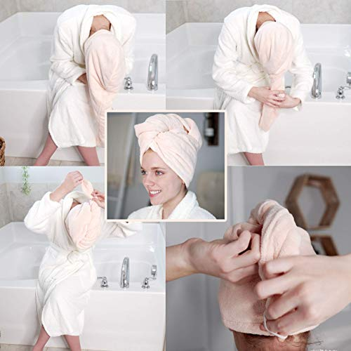 """[Upgraded] 3 Pack Microfiber Hair Towel Wrap - Extra Large 11""""X30"""" Super Absorbent & Quick Dry Hair Turban for Curly, Long & Thick Hair, Hair Repair Towel Wrap for Women, Kids, Rapid Drying Hair Caps"""