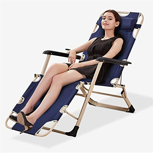 YVX Garden Chair Metal Sun Lounger, Folding Sunbed Rust-Resistant, with Breathable Synthetic Fabric, 3 Position Adjustment 1786730cm, 100 Kg Max c2015 (Size : Without Cushion)