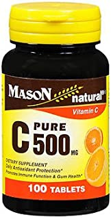 Mason Natural Vitamin C 500 mg - 100 Tablets, Pack of 2