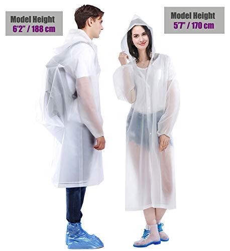 HLK Sports Rain Poncho, [2 Pack] Reusable EVA Rain Coats, Size 59 by 27.5