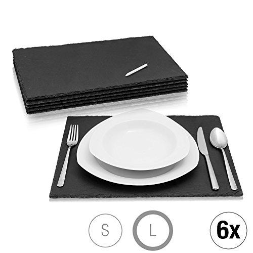 Amazy Assiettes en Ardoise (Set de 6) + Craie de marquage – Sets de Table en Ardoise Naturelle avec Pieds antidérapants pour Tous Vos Repas (40 x 30 cm)