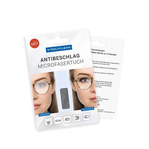 POLYCLEAN 1x Antibeschlagtuch – Microfaser Reinigungstuch mit Antibeschlag-Effekt ohne zusätzliche Flüssigkeiten – Brillentuch für klaren Durchblick (18x15 cm, 1 Stück)