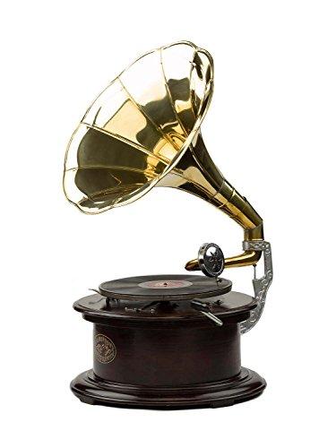 aubaho Grammophon Holz 70cm Trichtergrammophon Schellackplatte antik Stil Gramophone