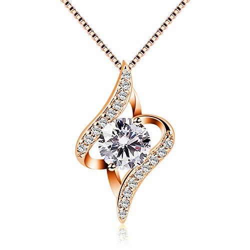 B.Catcher donne collana in argento con pendente in zircone,Oro rosa