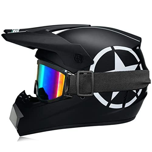FENGCHENG Casco de motocross para niños – ECE, casco de moto Cross – Casco BMX Quad Enduro ATV Scooter con Goggle/guantes, adecuado para patinete de bicicleta (S,Star)