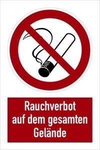 1187. Kombischild: Rauchverbot auf dem gesamten Gelände - ALU KOMBI SYMBOL P01