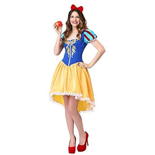 Shndhi Nachthemden Für Damen Schneewittchen Prinzessin Kostüm Für Frauen Halloween Party Karneval Cosplay Kostüme Mädchen Kleid + Kopfbedeckung Feminina Langes Kleid-Gold_XL