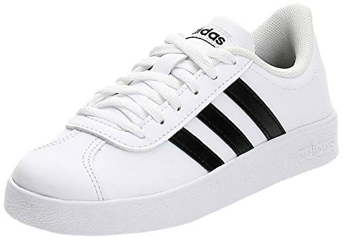 adidas Unisex-Kinder VL Court 2.0 Sneaker, Weiß (Footwear White/Core Black/Footwear White 0), 33 EU