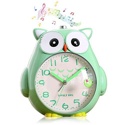 TaimeiMao Kinder Eule Wecker,Wecker Kinder ohne Ticken Kinderuhr mit nachtlicht,Schlafzimmer Snooze Funktion Uhr mit Dim Yellow Night Light und laut Alarm für Kinder,Wecker Kinder,Wecker (Grün)