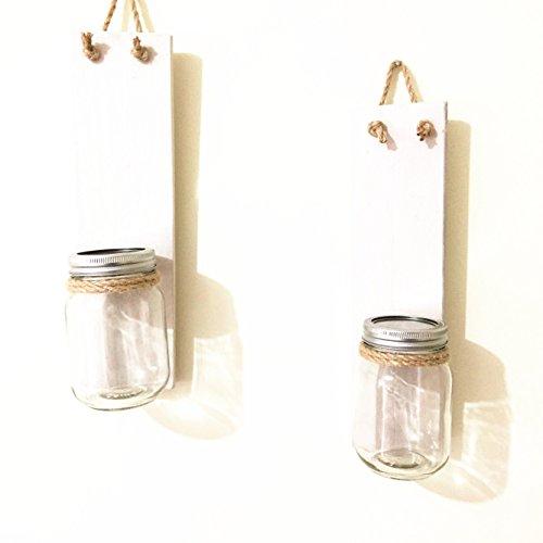 loveyourlife Wandleuchter mit Hortensien, rustikale Dekoration, rustikales Hochzeitsgeschenk, weißes Holz, ohne Blume, 2 Stück