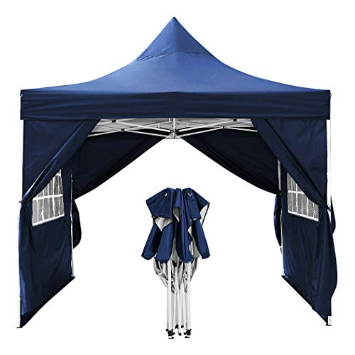 WOOKRAYS 3x3m Patio, Waterproof Garden Gazebo with 4 side parts for marquee party tent/garden/wedding/picnic sun protection+ HandBag (Blue)