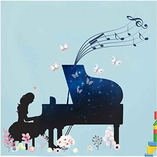 MINGKK - Adhesivo decorativo para pared, diseño de piano girl