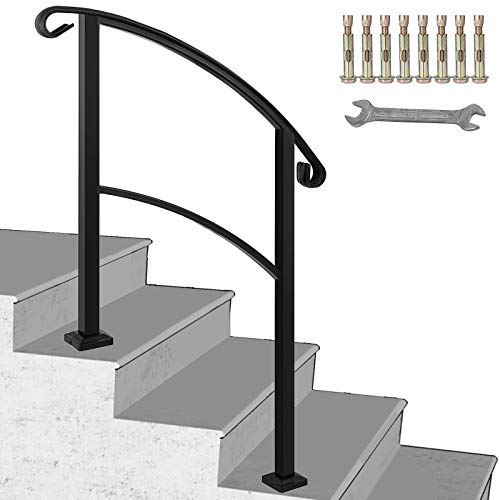 Happybuy Transitional Handrail Fits 1 or 3 Steps Black Stair Rail Handrails for Outdoor Steps Wrought Iron Handrail with Installation Kit