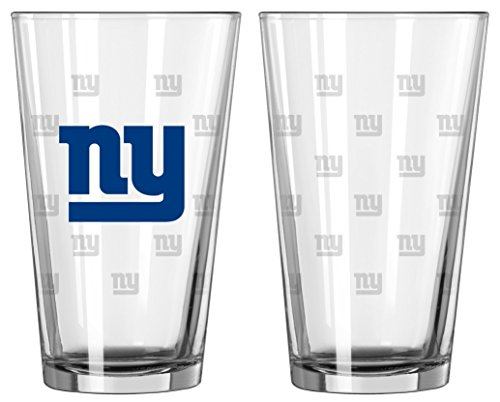 NFL Pint Glass Cup (Set of 2) NFL Team: New York Giants