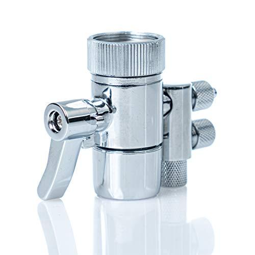 VISION AQUA Adaptador de conexión de grifo con aireador y retorno para aguas residuales – M22 IG a tubo de 1/4 pulgadas.