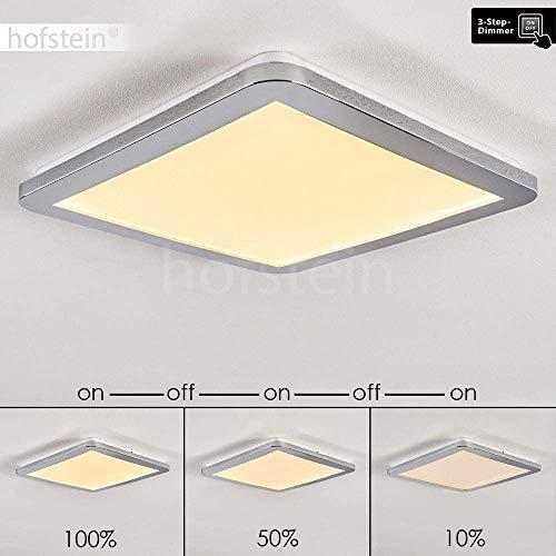 LED plafondlamp Fasola, vierkante metalen plafondlamp in chroom, 18 Watt, 1000 Lumen, 3000 Kelvin (warm wit), in 3 stappen dimbaar via lichtschakelaar, ook geschikt voor de badkamer, IP44