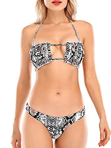 Tuopuda Set Bikini da Donna Costumi da Bagno Mare Due Pezzi con Rouches Regolabile Reggiseno Spiaggia Vita Alta String Thong Brasiliana Bikini Fascia Senza Spalline con Coulisse, Motivo Serpente, XL