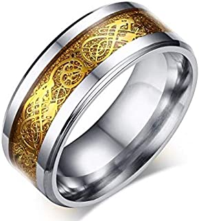 Fashion Gold and silver plated stainless steel Mens decorate 'dragon'Ring with high poshlish