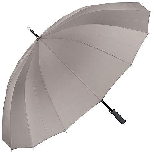 VON LILIENFELD Regenschirm Partnerschirm Automatik Damen Herren Fiberglas 16 Stangen Sehr Stabil Cleo Grau
