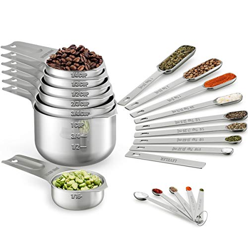 Wildone Measuring Cups & Spoons Set of 21 - Includes 7 Stainless Steel Nesting Measuring Cups, 8 Measuring Spoons, 1 Leveler & 5 Mini Measuring Spoons, Ideal for Dry and Liquid Ingredients