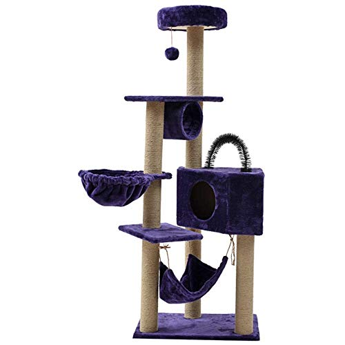 YEXIN Kratzbaum, 160CM Cat Entertainment Center Pet Furniture , Hängematte, Kondominium, Post-Climbing-Tower-Rahmen, Activity Center-Möbel - für Kätzchen (Farbe : Lila)