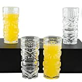 Clear Tiki Glasses, Set of 4-450 ML - Perfect for Exotic Cocktails, Lemonade, Ice Tea, Mixed Drinks- Exotic Zombie, Rum, Mai Tai, Pina Colada, Punch, Hurricane, Bar Drinkware