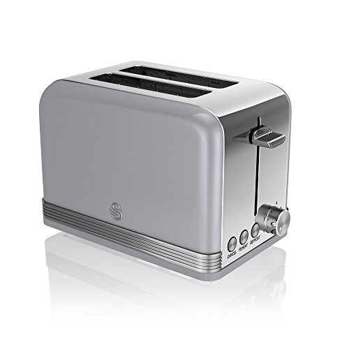 Swan 2 Slice Retro Toaster, Grey, Defrost, Cancel and Reheat Functions, Slide Out Crumb Tray, ST19010GRN