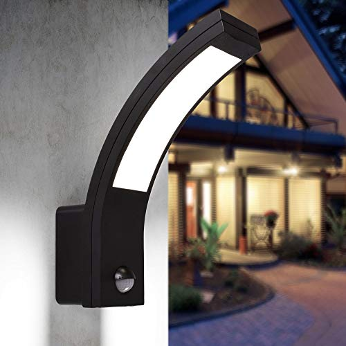 LED Aussenleuchten Bewegungsmelder Wand-leuchte Wandlampe Flurleuchte Fluter 15W schwarz modern IP54 PIRIT-BK
