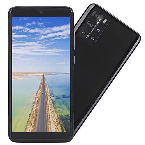 CUYT Teléfono Inteligente Desbloqueado P48 Pro, 5.8in 512MB+4GB Pantalla de Gota de Agua Tarjeta Dual MP3/WIFI/3GP/FM/Bluetooth Teléfono Celular Android Huella Digital Identificación Facial(Negro)